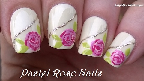 Pastel rose nail art using only toothpick