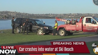Vehicle in water at Mission Bay's Ski Beach - Video