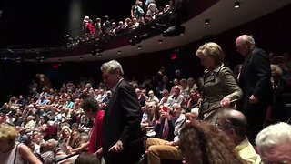 Clintons Cheered by New York Theater Audience - Video