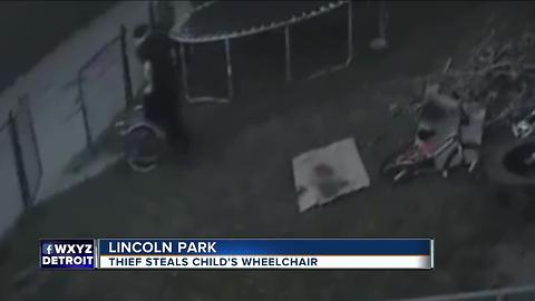 Thief caught on video stealing child's wheelchair