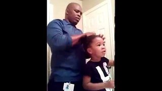 Cute Three-Year-Old Encourages Dad's Hair Styling Efforts - Video