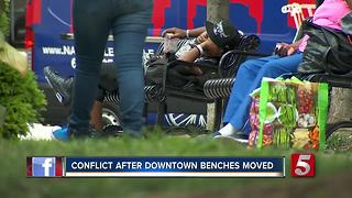 Conflict Rises After Benches Moved From Sidewalk In Nashville - Video