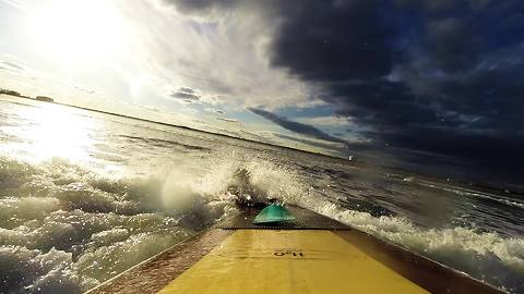 Epic winter paddle boarding off New England coast