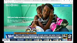 Macy's and Clothes4Souls giving away winter coats - Video