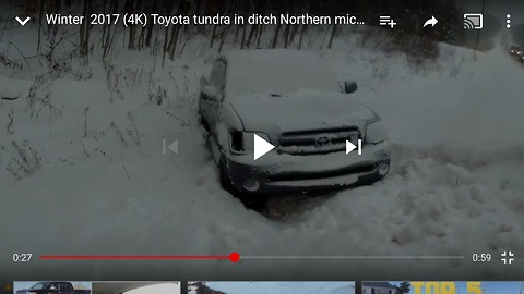 (4k) dash cam Toyota Tundra 20 feet in ditch drive by slot mo and walk around northern accident