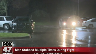 Man stabbed multiple times during fight in Delta Township - Video