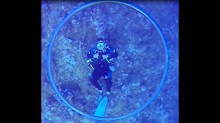 Dive master entertains clients with skillful with underwater bubble rings