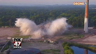 Smokestack demolished at former Michigan paper mill site - Video
