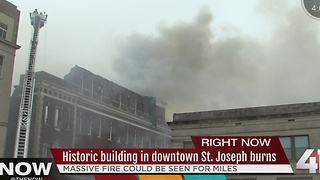 Downtown St. Joseph Pioneer Building up flames - Video