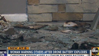 Drone battery explodes in Valley family's home - Video