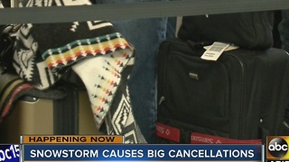 Snowstorm causes cancellations at Sky Harbor - Video