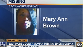 Baltimore County woman missing since Monday