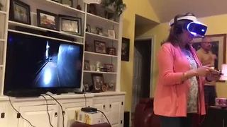Mom Completely Freaks Out While Playing VR Horror Game - Video