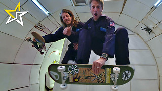 Tony Hawk Goes Skateboarding In Zero Gravity With Aaron 'Jaws' Homoki - Video
