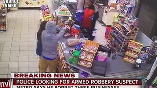 Las Vegas police seek suspect in 3 armed robberies