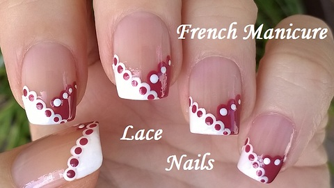 Chevron French manicure with lace nail art design