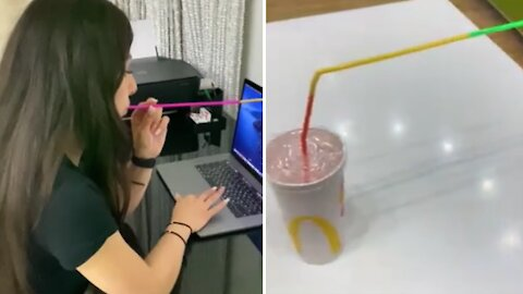 When drinks are not allowed near the computer, you have to be creative