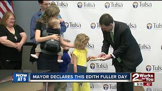 Edith Fuller holds 'Key to the City'