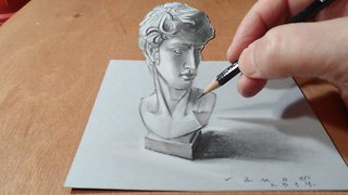 How to draw a 3D bust of David - Video