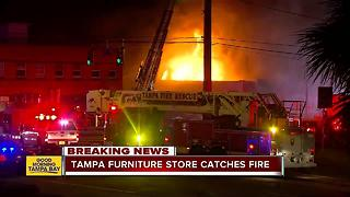 Overnight fire destroys Southern Used Furniture store in Tampa - Video