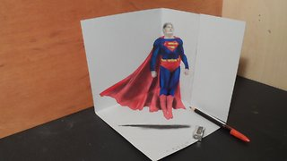 How to draw a 3D levitating Superman - Video