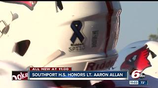 Southport football team honor Lt. Aaron Allan with special helmets - Video