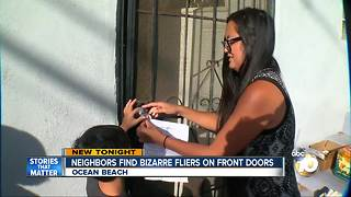 Neighbors find bizarre fliers on front doors - Video