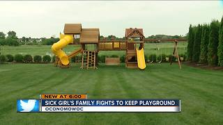 Sick child's family fights to keep playground - Video