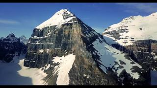 Beautiful drone footage of glacial lake in west Canada