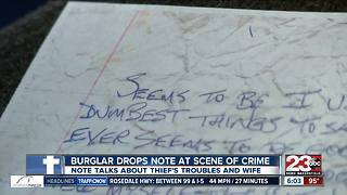 Thief leaves behind note after burglary - Video