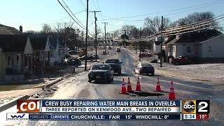 DPW crews work on three water main breaks in Overlea - Video