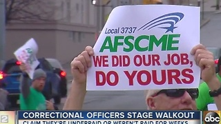 Correctional officers stage walkout in Towson - Video