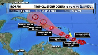 8 a.m. tropical update: Dorian's winds hold steady at 60 mph