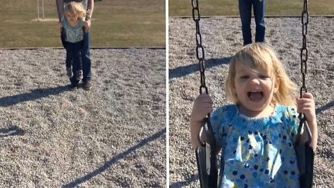 A push on the swings takes a hilarious turn: kid kicks mum in face