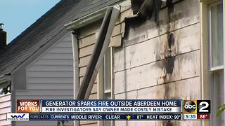 Generator sparks fire outside Aberdeen home - Video