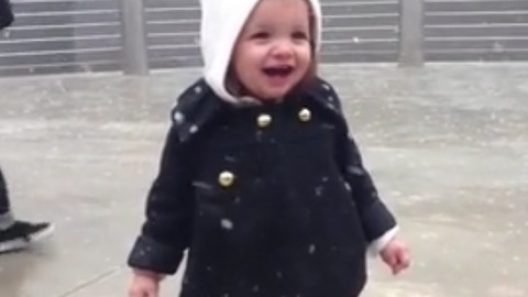 Cute toddler had a priceless reaction when she saw snow for the first time