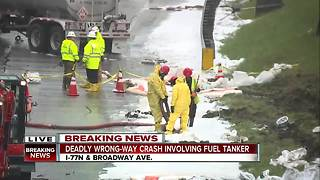 Wrong-way driver causes fatal crash involving tanker truck on I-77 North at Broadway Ave. exit - Video