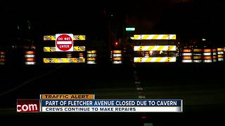 Water main break causes cavern to form under Fletcher Ave. bridge over Hillsborough River - Video