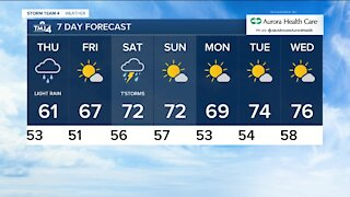 Cloudy and breezy with occasional showers Wednesday