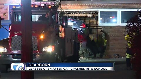 Classes open after car crashes into school in Dearborn