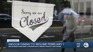 Restaurant owners react as they get ready for indoor dining restarting February 1st at a limited capacity