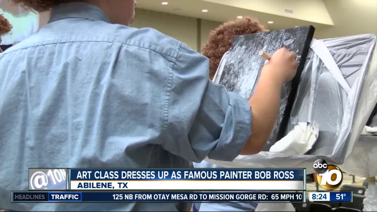Art Class Dresses Up As Famous Painter Bob Ross