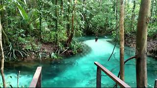 Amazing crystal-clear blue lake hidden away in Indonesian forest - Video