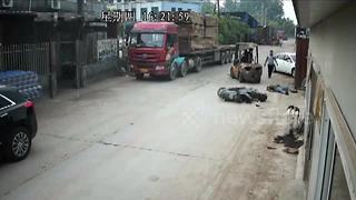 Scooter rider loses 16 teeth crashing into forklift blades - Video