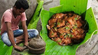 Awesome Primitive cooking chicken with clay pot in rice field chicken - Fish cutting