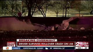 Driver survives rollover crash on I-44 overnight - Video