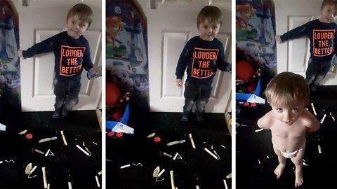 Not one for the family album! Tot caught having a 'tampon party' with mum's sanitary products