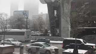 Downtown Atlanta Sees Rare Early December Snow - Video