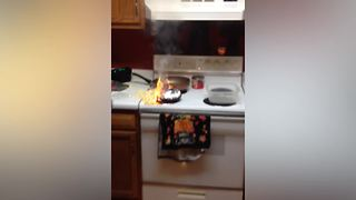 """""""Hilarious Woman Starts Fire in Kitchen"""""""