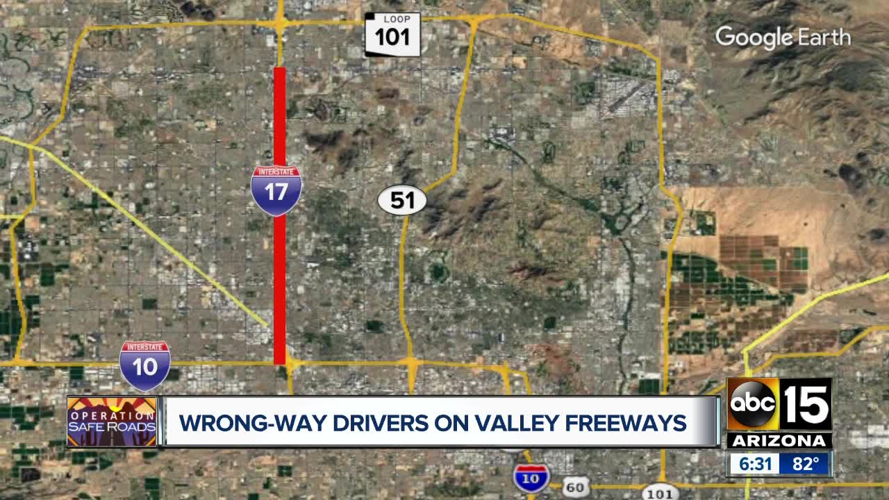 Wrong-way drivers on Valley freeways